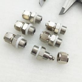 厂家直销快拧接头PC6-M10*1全铜镀镍直通外丝螺母锁紧气管接头