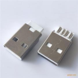 USB2.0公头--短体焊线式A公镀镍AM充电插头--白胶PBT