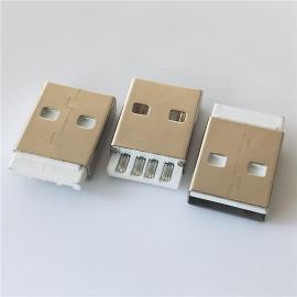 短体A公 180度 焊线式 USB2.0 AM L=19.1mm 短款 插头 白胶