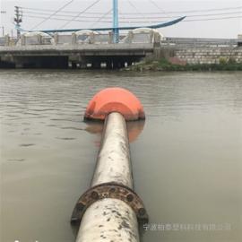 耐碰撞水上夹管浮体 橙色醒目塑料托浮管道浮筒