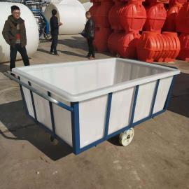 厂家直销1100L牛筋水产方箱服装印染周转箱pe滚塑带轮推布车