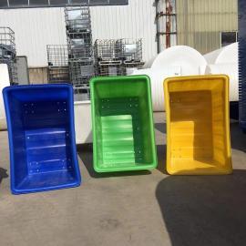 厂家直销300L加厚耐用周转箱 pe滚塑化工方桶 敞口带刹车轮方箱