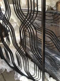 写字楼简单不锈钢拉丝全焊黑钛屏风 写字楼黑钛简约落地屏风