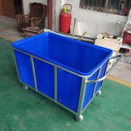 牛筋水产养殖箱400L织布厂用带轮方桶布衣内胆定做推布车