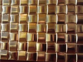 大型酒店幕墙装饰用欧式不锈钢镜面钛金立体压纹板