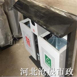 户外垃圾桶 环卫垃圾桶分类双桶 垃圾箱l环保钢木垃圾筒