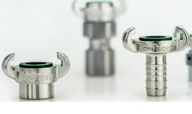 德国LUDECKE进口不锈钢羊角软管接头EKS耐腐蚀铸铁耐喷砂管插座