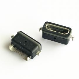 黑胶MICRO 5P板上型防水母座两脚沉板前插后贴防水ip67