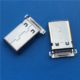 超薄充电贴片式TYPE C双排12+12沉板双贴USB公头24P两脚全贴