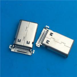超薄充电沉板式TYPE C24P沉板贴片3.1公头两脚贴板