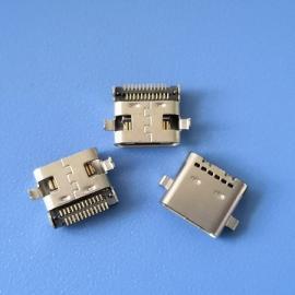 两脚沉板 TYPE C24P USB 3.1母座 沉板0.8 双排SMT贴板 无弹六孔