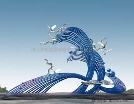 海浪和海鸥雕塑 不锈钢浪花雕塑 海滨城市雕塑