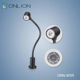 M3R底座磁性安装,灯杆软管可360°调整发光角度。