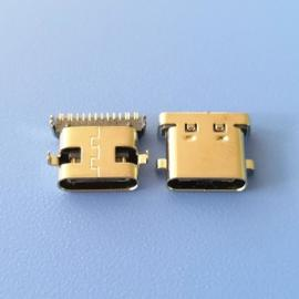 沉板1.0 TYPE C 16P母座 两脚沉板 尾部加宽 前插后贴DIP+SMT
