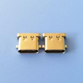 两脚鱼叉插板 TYPE C 16P 3.1母座 沉板1.0 脚距10.64 黑胶有柱
