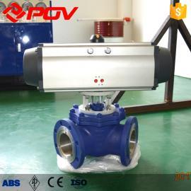 气动三通Y型球阀密封件采用喷焊镍基合金,具用耐磨功能