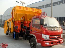 混凝土喷浆车-建特重工车载式自动上料喷浆车丨一拖三双斗