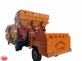 混凝土喷浆车丶建特重工工程式自动上料喷浆车丨一拖三双斗