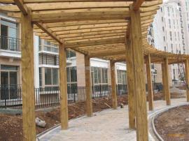 防腐木景观长廊花架定做、阳台葡萄架、护栏