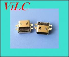 沉板0.9TYPE C母座-四脚沉板SMT LCP黑胶有柱 双弹片 编带包装