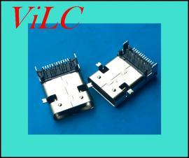 板上前插后贴24P-TYPE C长体母座-加长11.95 不锈钢 无后盖 有柱