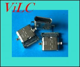 沉板式TYPE C母座/24P前插后贴-二脚破板双不锈钢壳Type-c连接器