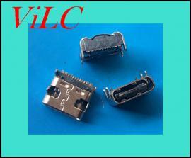 厂家生产16P板上穿板TYPE C母座/四短脚固定 带定位柱
