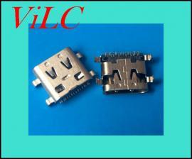 L=7.96-四脚破板式TYPE C母座-16P后贴贴片SMT 双弹片 编带