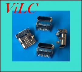 垫高4.46MM板上型TYPE C母座24P 四脚插板 加高typec母头