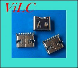 板上型-6P后贴-充电型TYPE C母座/四脚插板-大电流-快充PD
