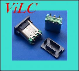 24P-TYPE C立式贴片母座/USB 3.1插座=180度四脚DIP/L=10.5