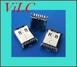 立式贴片TYPE C母座-简易版立贴母座6P 大电流 带防尘盖