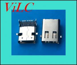 长体11.95-TYPE C母座-24P前贴后插-加长体/有柱-编带包装