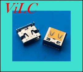 四脚插板TYPE C母座16P 3A大电流 板上插件 双弹片
