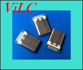24P夹板TYPE C公头-带固定脚卡板-铆压USB3.1插头-白胶PBT