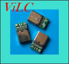 带板TYPE C母座-24P夹板USB3.1充电母头/PCB板焊线 线材用