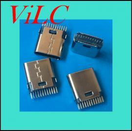 TYPE C夹板母座24P-立式插板-无固定脚 PIN距加宽-冲压外壳