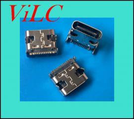 卧式TYPE C母座-16P单排贴片/四脚插板 短体7.35 带定位柱