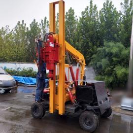 小型护栏打桩机 装载式高速公路护栏钻孔机