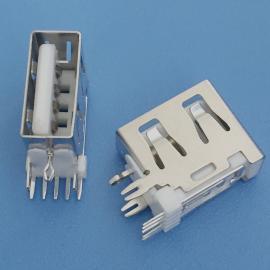 USB 2.0 A母 10.0 测插 5P O型脚 带开关 白胶 无后盖