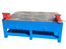 非标定制钢板桌,水磨台面模具台利欣,加厚重型钢板钳工台