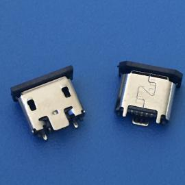 立贴/母座MICRO USB立式贴片180°迈克5P母座SMT贴板H=5.0带胶塞
