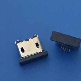 MICRO USB 5P立式SMT母座 180度立贴 贴片 平口带胶塞