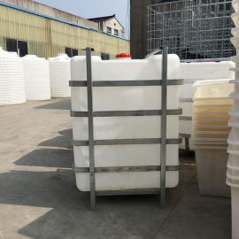 1500L新款加厚塑料吨桶磷酸周转桶运输桶外铁架可定制
