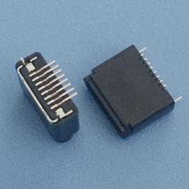 立�N式/�O果黑色全塑母座8P/180度立式�N片SMT/���_/高度H=6.5mm