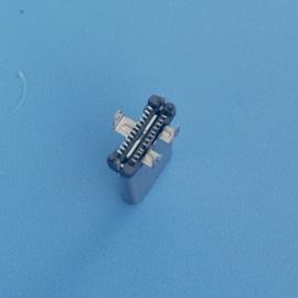 TYPE-C插件公头三只脚插板直立式贴片公头站立SMT带防尘塞11MM