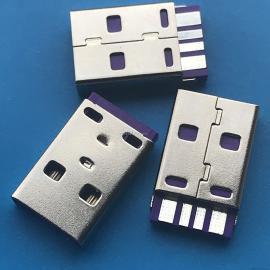 USB 4Pin A公 焊线式 蓝色胶芯 USB 插头 连接器