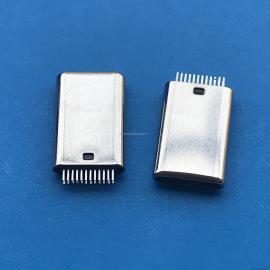 USB TYPE-C 24Pin 公头 加长款 拉伸/无缝 双排针 夹板 无接地