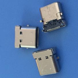 TYPE-C 24P 双包壳母座 前贴后插 小翅膀 无弹 DIP+SMT 板上3.42