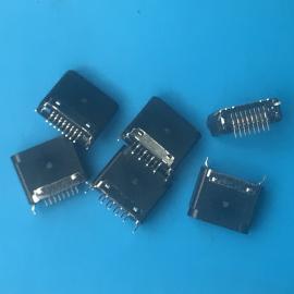 立贴苹果母座 黑色全塑母座 立式/单排/6.5mm